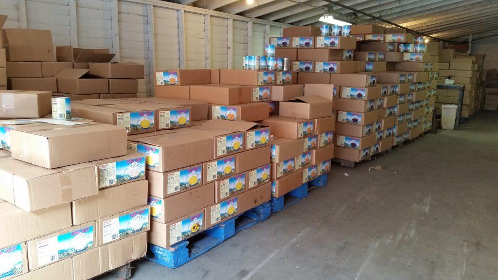 warehouse, pallet, food